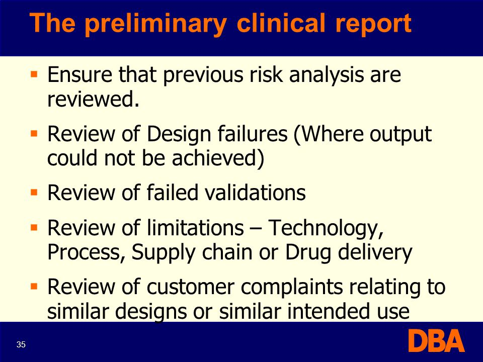 The preliminary clinical report