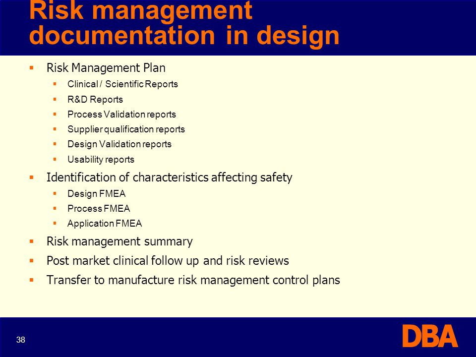 Risk management documentation in design