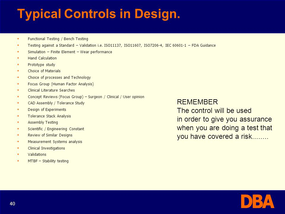 Typical Controls in Design.
