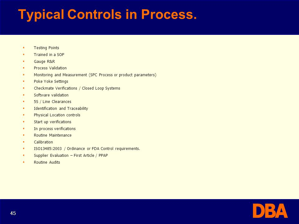 Typical Controls in Process.