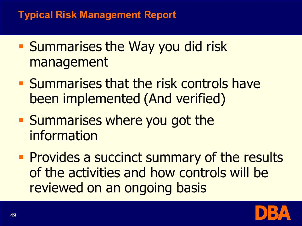 Typical Risk Management Report
