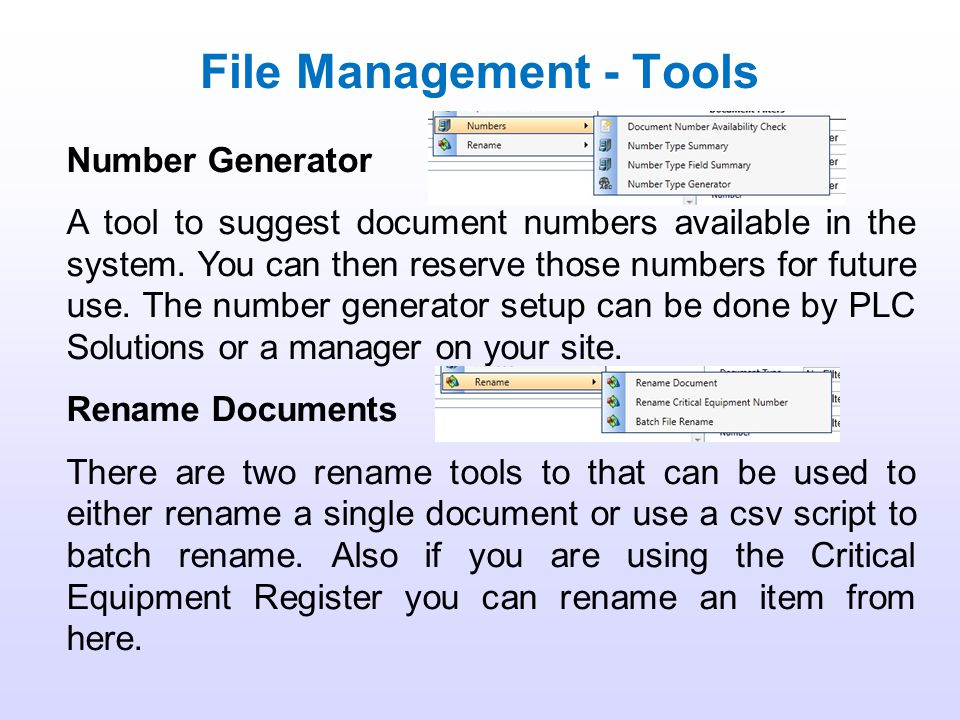 File Management - Tools