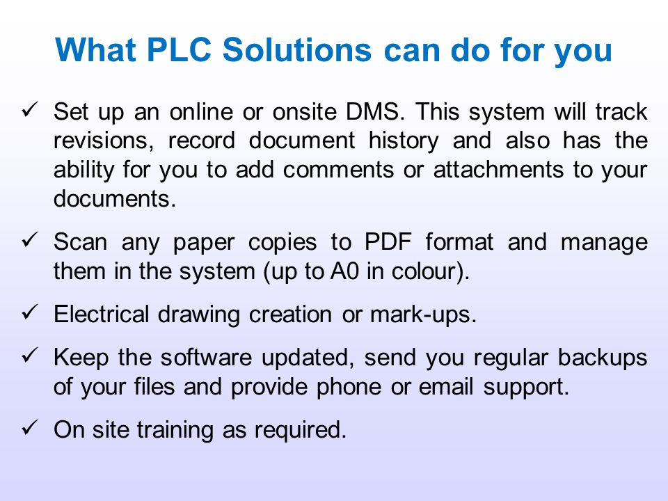 What PLC Solutions can do for you