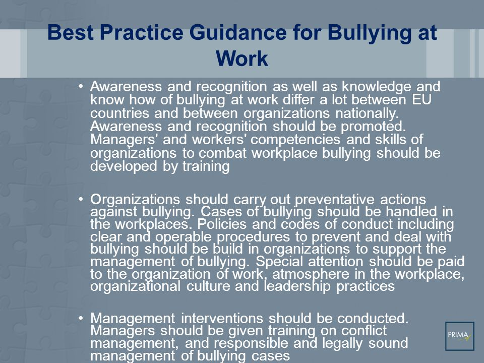 Best Practice Guidance for Bullying at Work