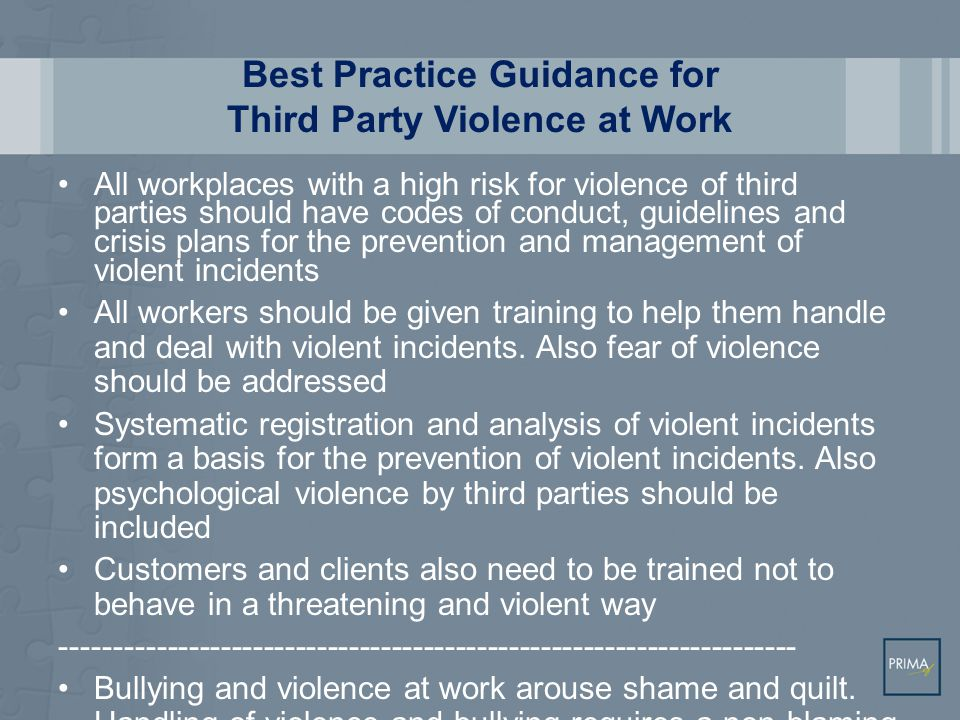 Best Practice Guidance for Third Party Violence at Work