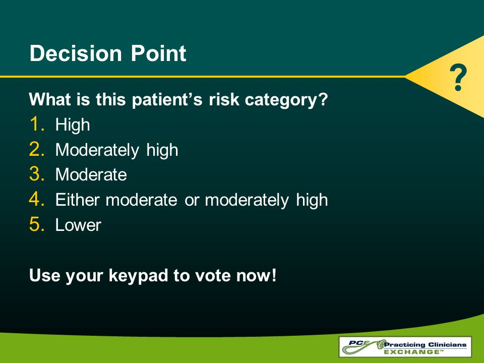 Decision Point What is this patient's risk category High
