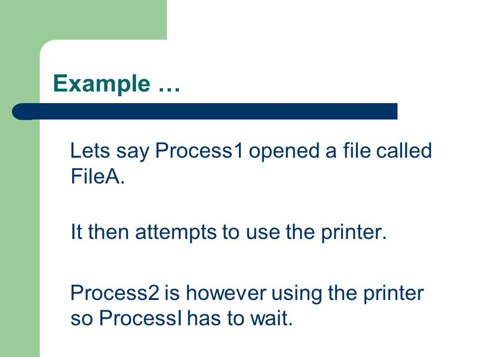 Example … Lets say Process1 opened a file called FileA.