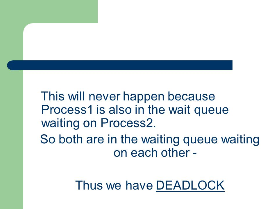 So both are in the waiting queue waiting on each other -