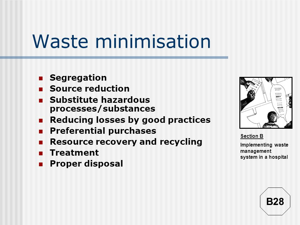 Waste minimisation B28 Segregation Source reduction