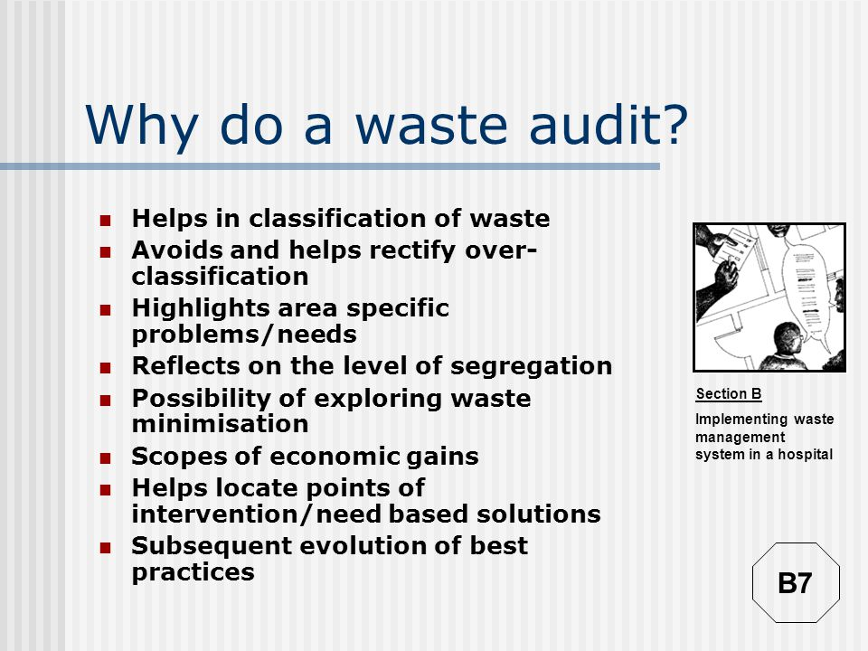 Why do a waste audit B7 Helps in classification of waste