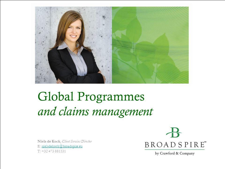 Global Programmes and claims management Welcome