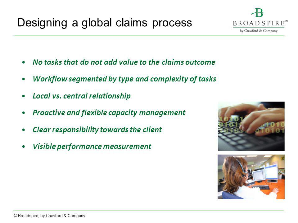 Designing a global claims process