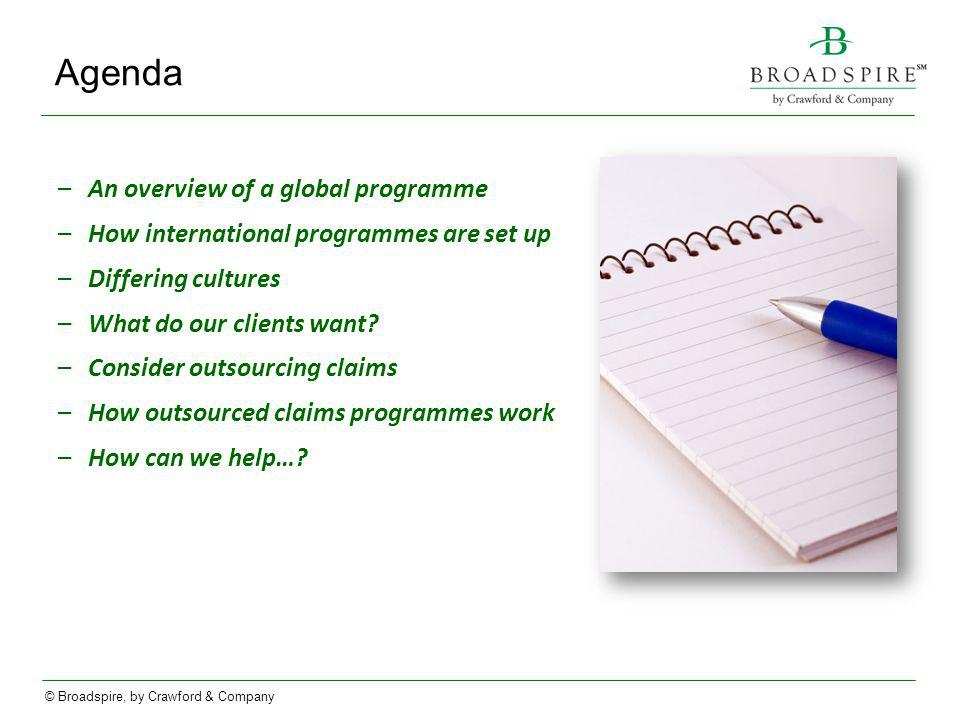 Agenda An overview of a global programme