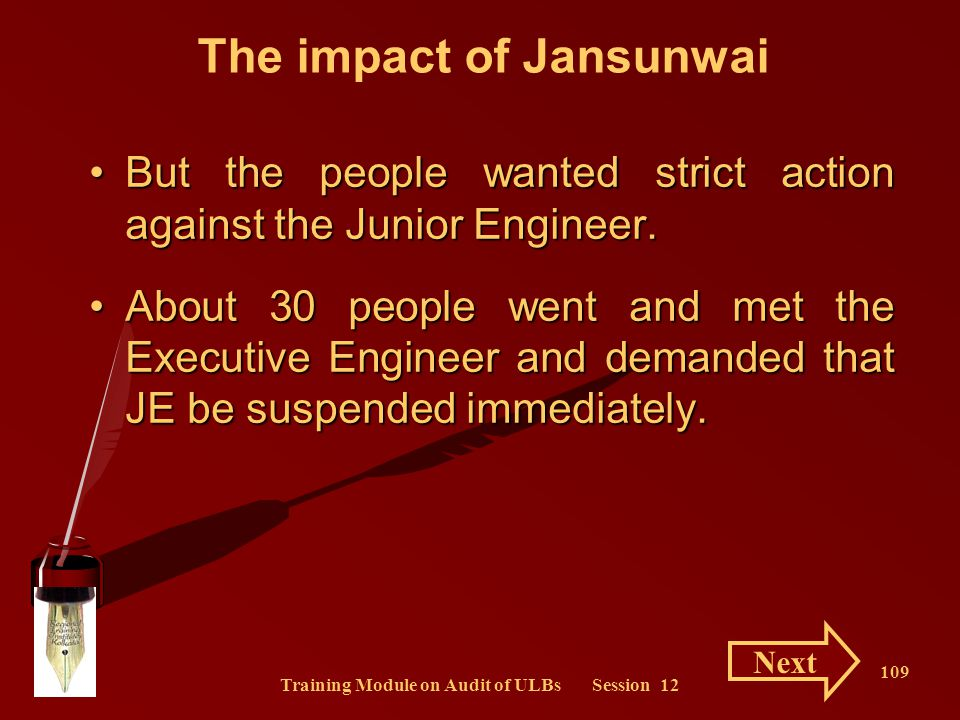 The impact of Jansunwai Training Module on Audit of ULBs Session 12