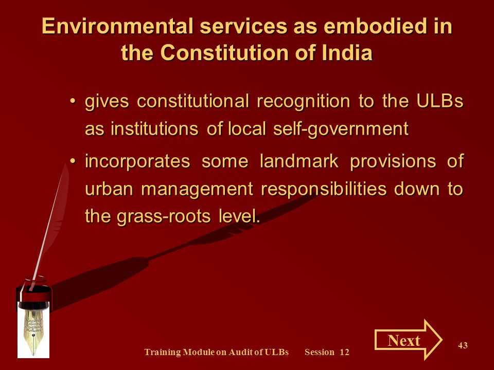 Environmental services as embodied in the Constitution of India