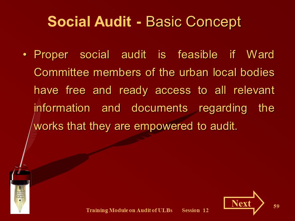 Training Module on Audit of ULBs Session 12
