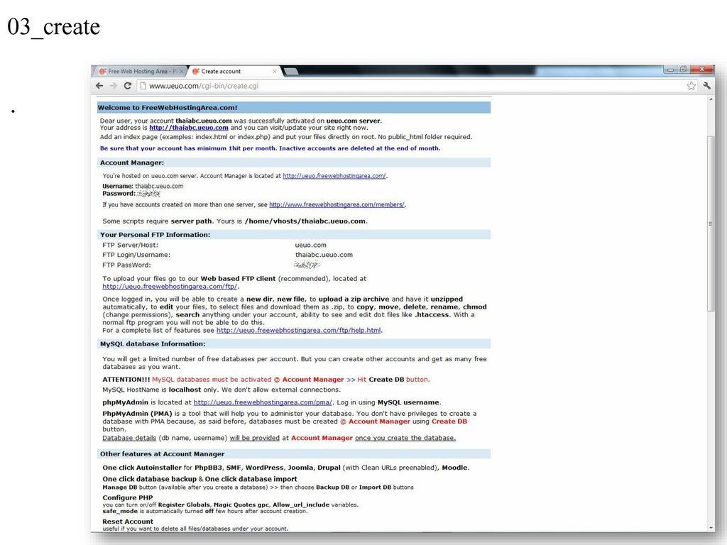 PHP freewebhostingarea com - Service free webhosting - Ueuo is one