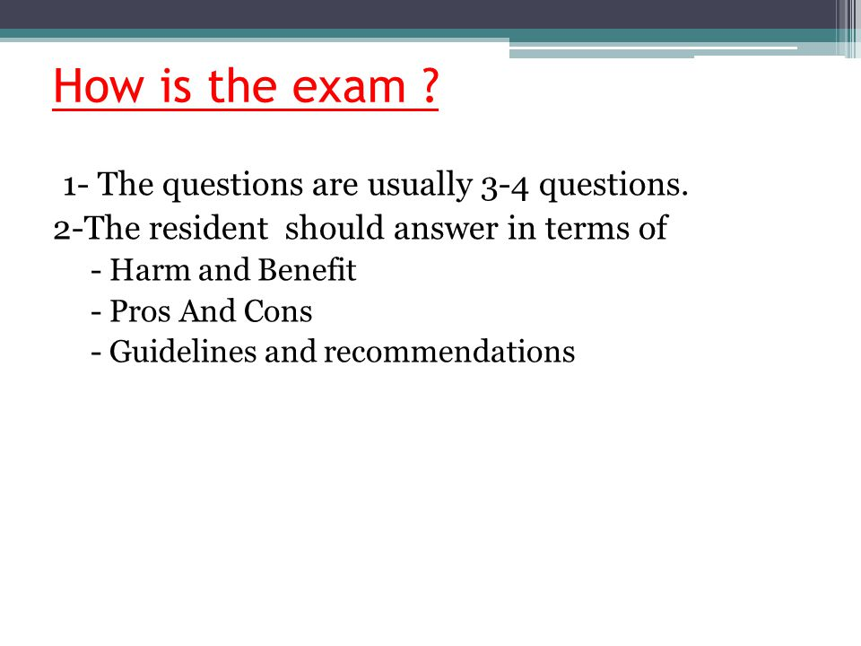 How is the exam 1- The questions are usually 3-4 questions.