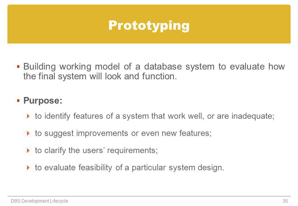 Prototyping Building working model of a database system to evaluate how the final system will look and function.