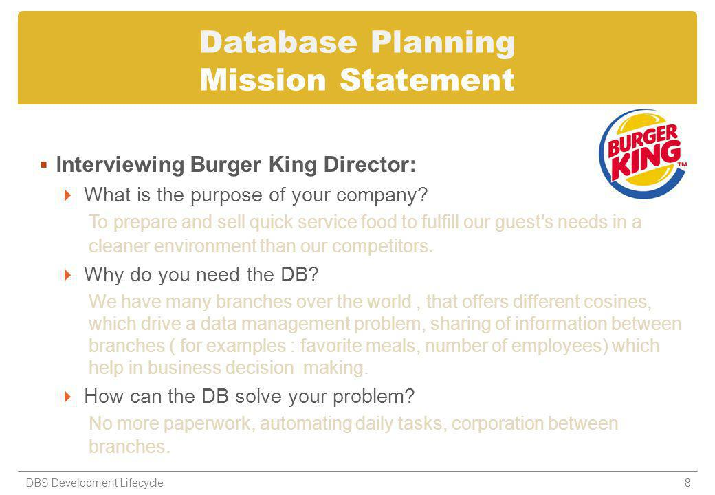 Database Planning Mission Statement