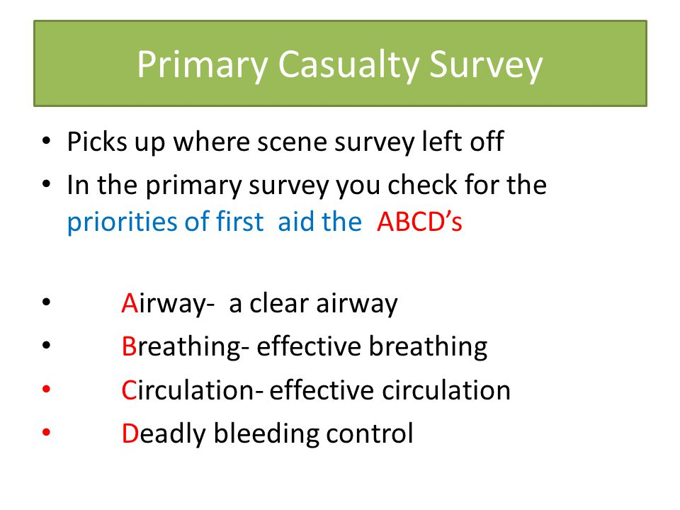 Primary Casualty Survey