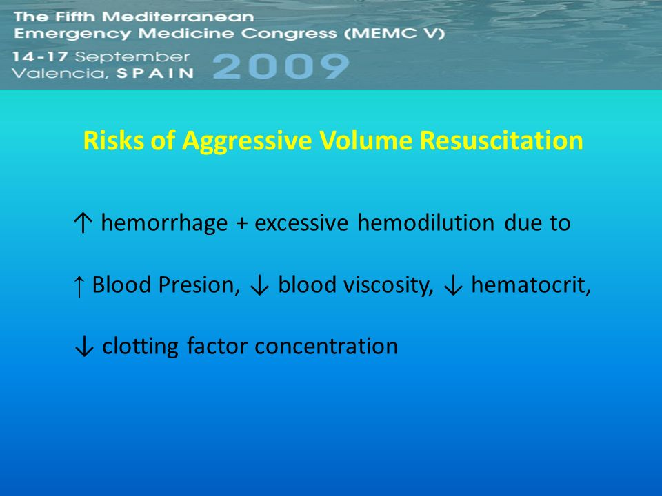Risks of Aggressive Volume Resuscitation