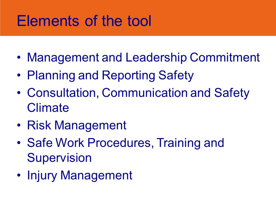Elements of the tool Management and Leadership Commitment