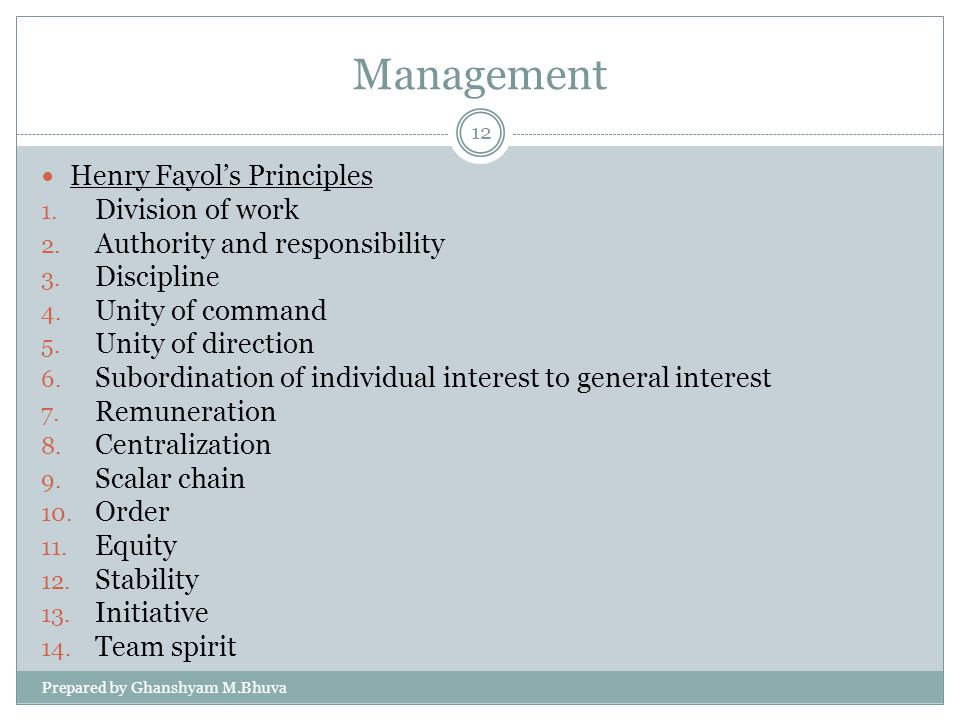 Management Henry Fayol's Principles Division of work