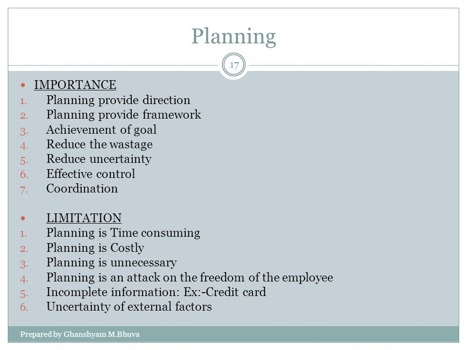 Planning IMPORTANCE Planning provide direction