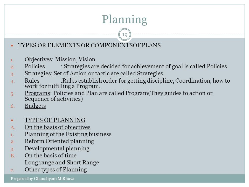 Planning TYPES OR ELEMENTS OR COMPONENTSOF PLANS