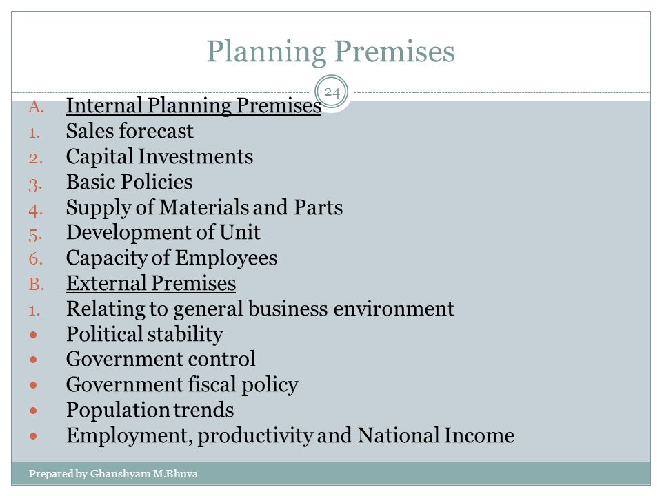 Planning Premises Internal Planning Premises Sales forecast