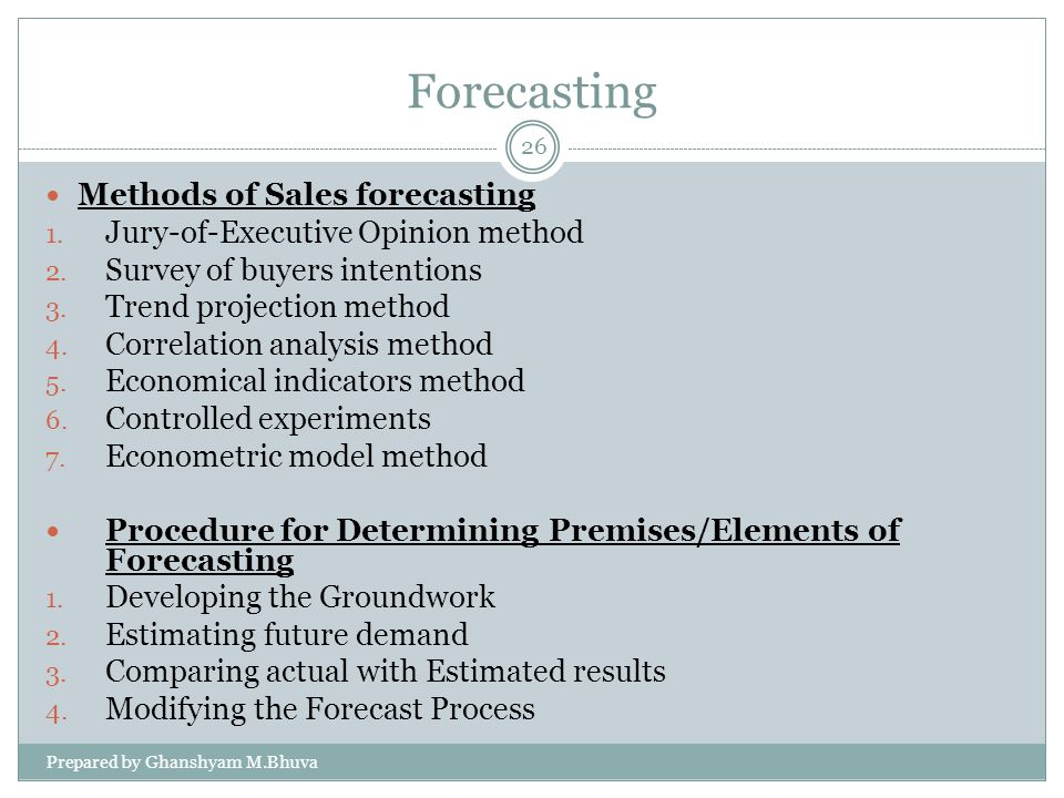 Forecasting Methods of Sales forecasting