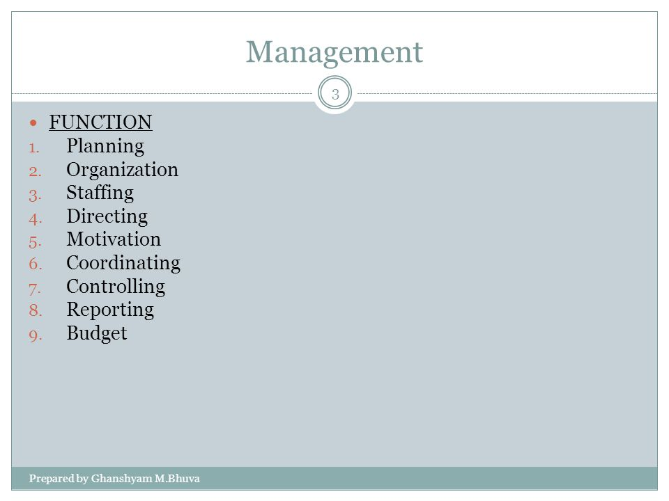 Management FUNCTION Planning Organization Staffing Directing