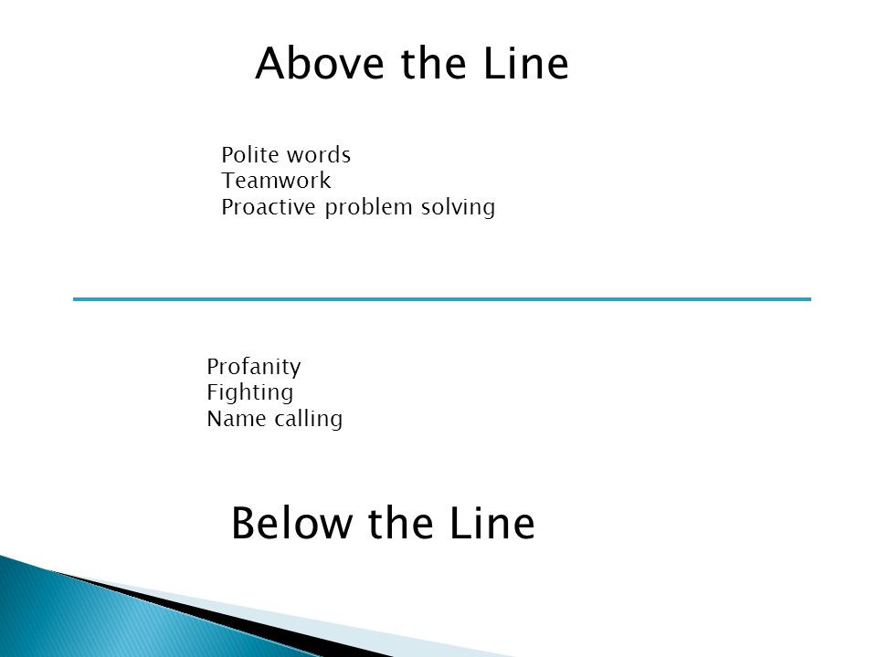 Above the Line Below the Line Polite words Teamwork