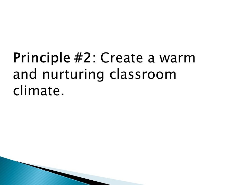 Principle #2: Create a warm and nurturing classroom climate.