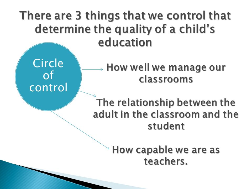 There are 3 things that we control that determine the quality of a child's education