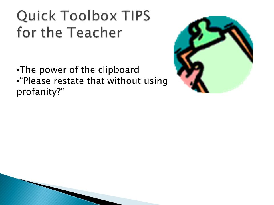 Quick Toolbox TIPS for the Teacher