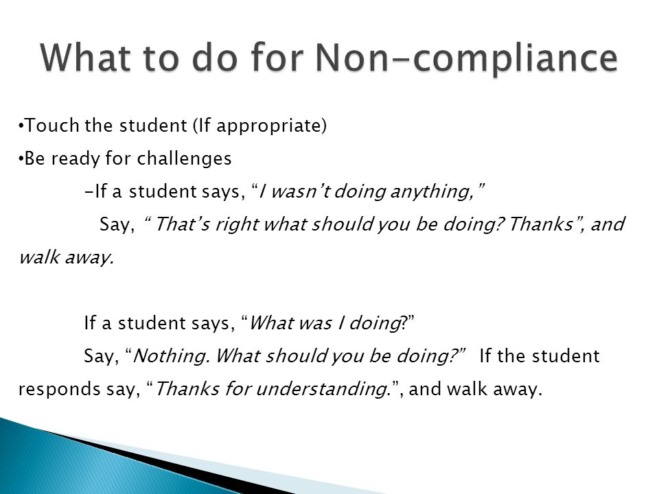 What to do for Non-compliance