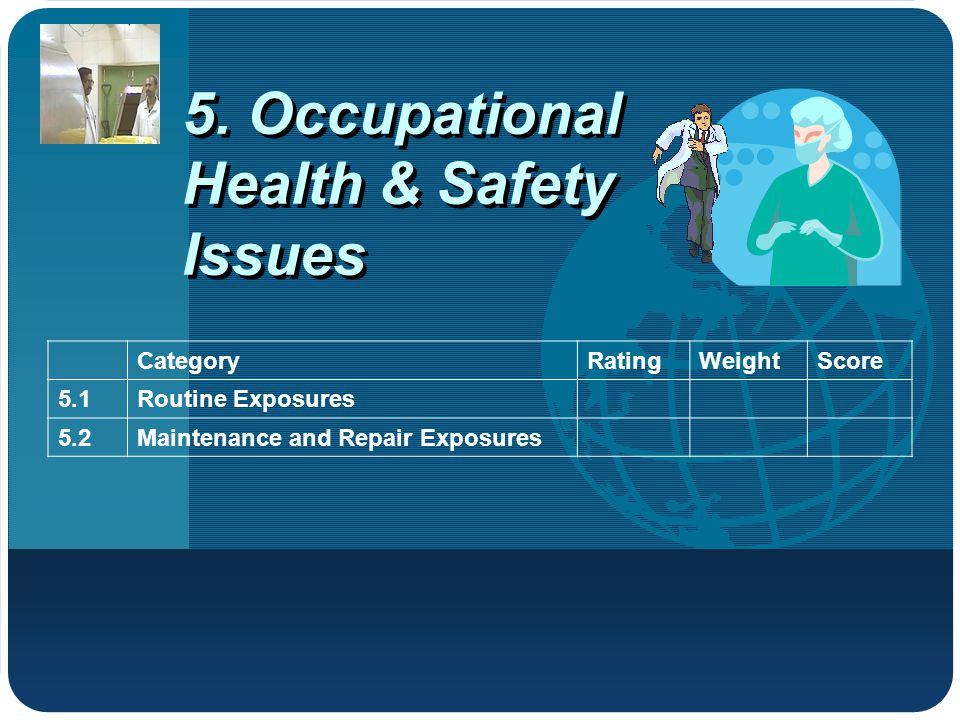 5. Occupational Health & Safety Issues