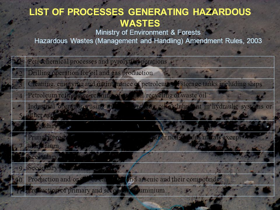 LIST OF PROCESSES GENERATING HAZARDOUS WASTES