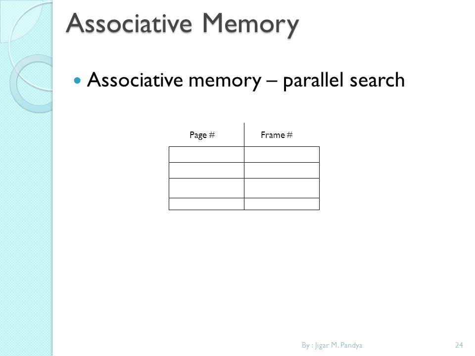Associative Memory Associative memory – parallel search Page # Frame #