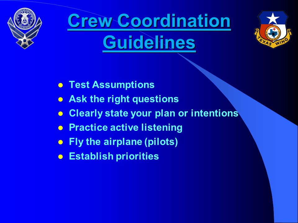 Crew Coordination Guidelines