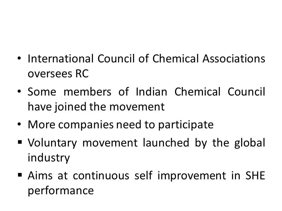 International Council of Chemical Associations oversees RC