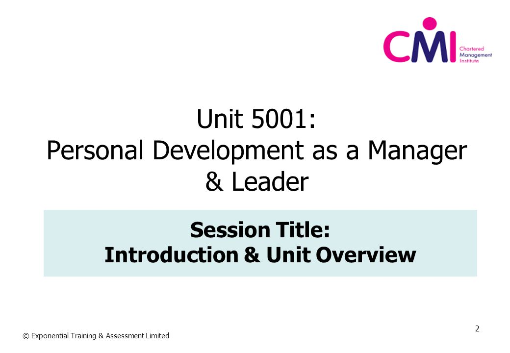 Unit 5001: Personal Development as a Manager & Leader