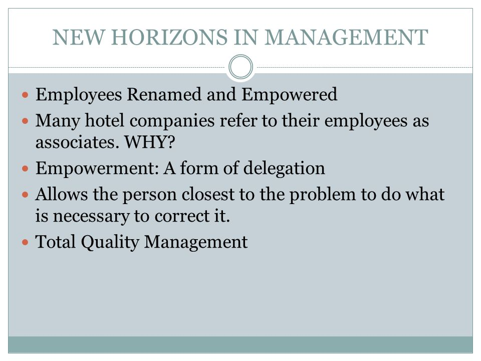 NEW HORIZONS IN MANAGEMENT