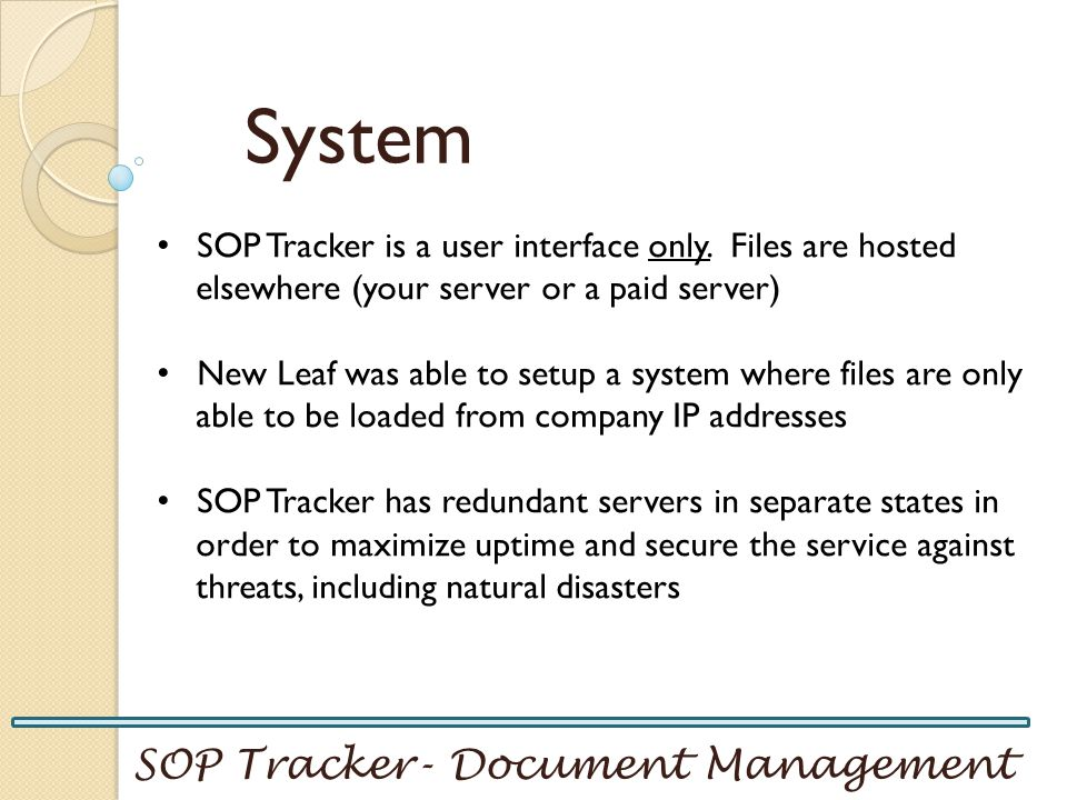 System SOP Tracker- Document Management