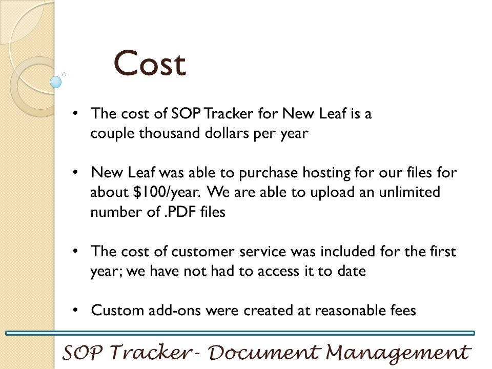 Cost SOP Tracker- Document Management
