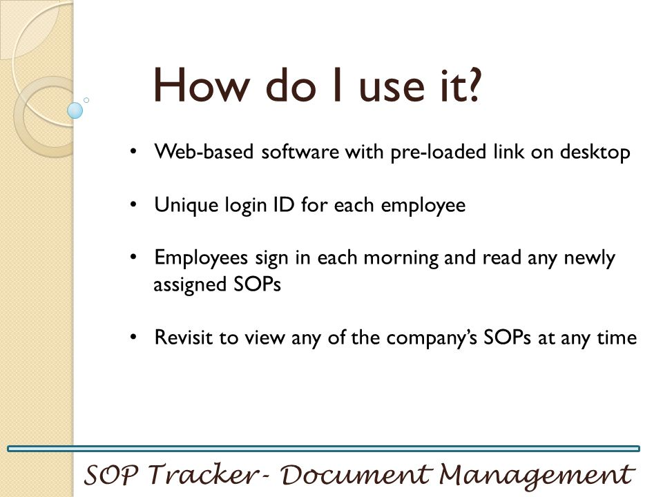How do I use it SOP Tracker- Document Management
