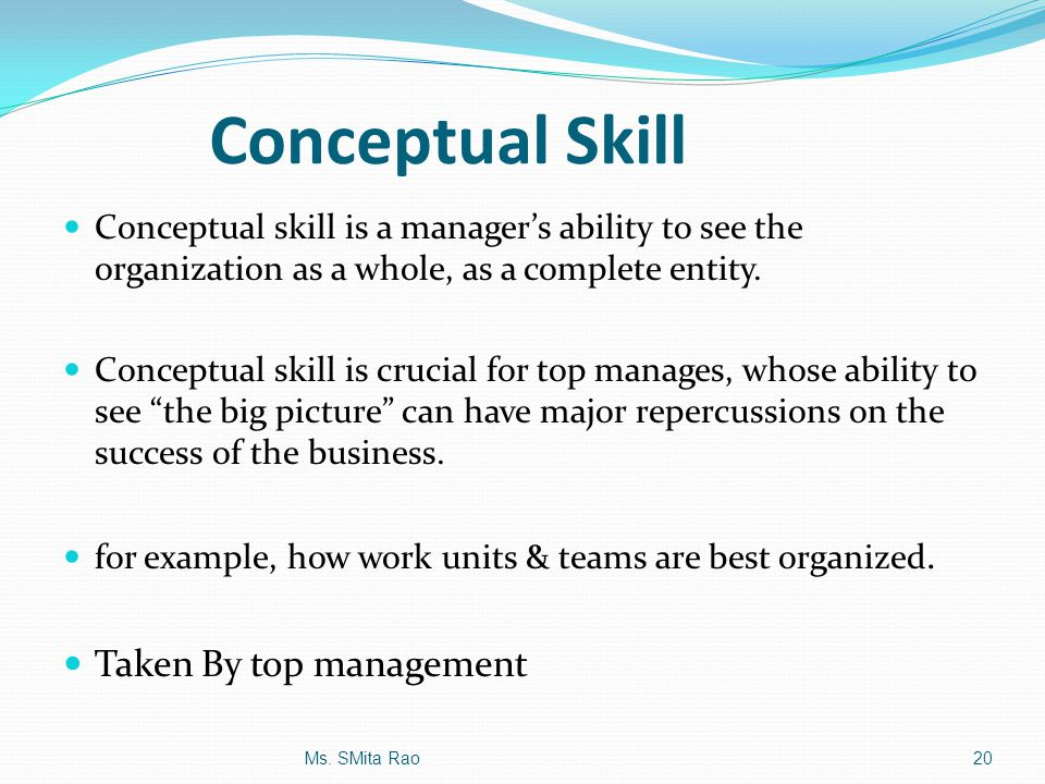 examples of conceptual skills in management