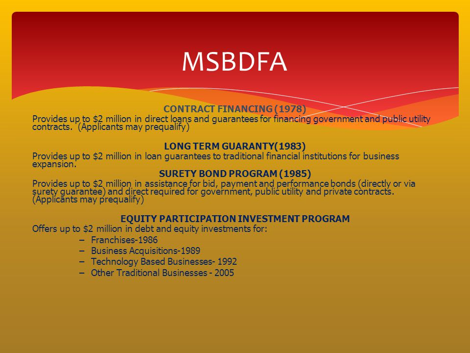 EQUITY PARTICIPATION INVESTMENT PROGRAM